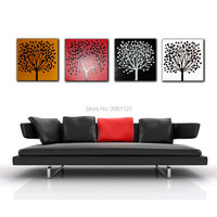 Pintado a mano 4 season tree pintura abstracta moderna de la lona foto arte de la pared establece salón decorativo piezas de grupo