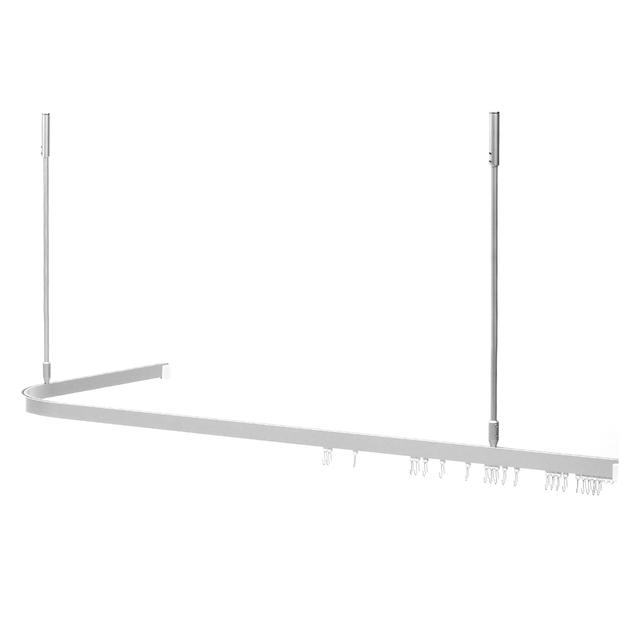 Corner L Shaped Shower Curtain Rod Aluminum Alloy Track Style Universal Size 62