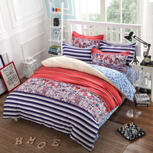 3/4pcs Bedding Set Twin/Full/Queen Size Stripes Bed Linen Set Reactive Printed Duvet Cover Flat Sheet Pillowcases Free Shipping