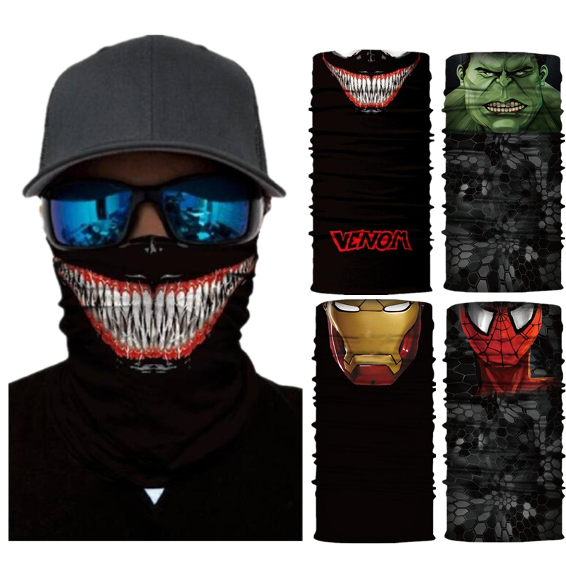 Superheros Spider Hulk Harley Quinn Iron Man Motorcycle Cycling Neck Scarf Half Face Mask Bandana Headband Cosplay Masks