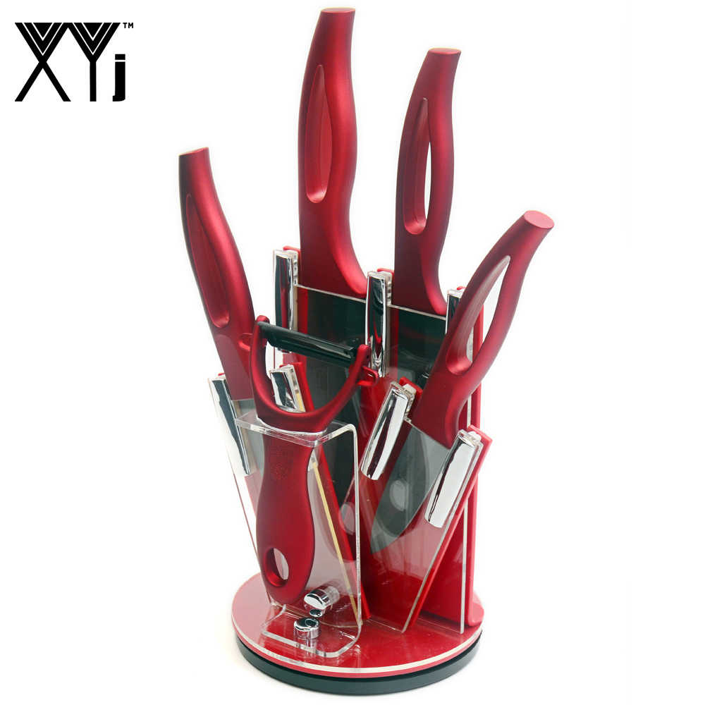 XYJ Brand Accessories Set Peeler+Red Kitchen Knife Holder+3 Inch Paring 4 Inch Utility 5 Inch Slicing 6 Inch Chef Ceramic Knife