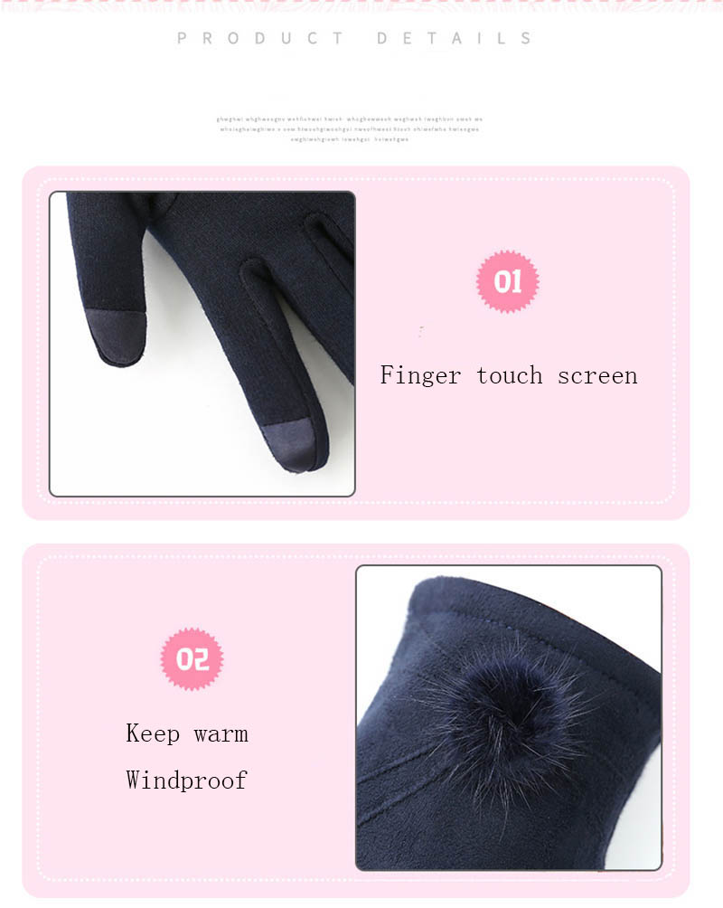Winter Windproof Touch Screen Gloves for Female made of Cashmere Suede Leather Allows to Use Touch Screen Device Freely 9