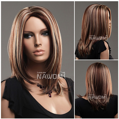 Free shipping new human synthetic wig medium length straight free shipping new human synthetic wig medium length straight binary color highlights wigs high quality 100 pmusecretfo Choice Image