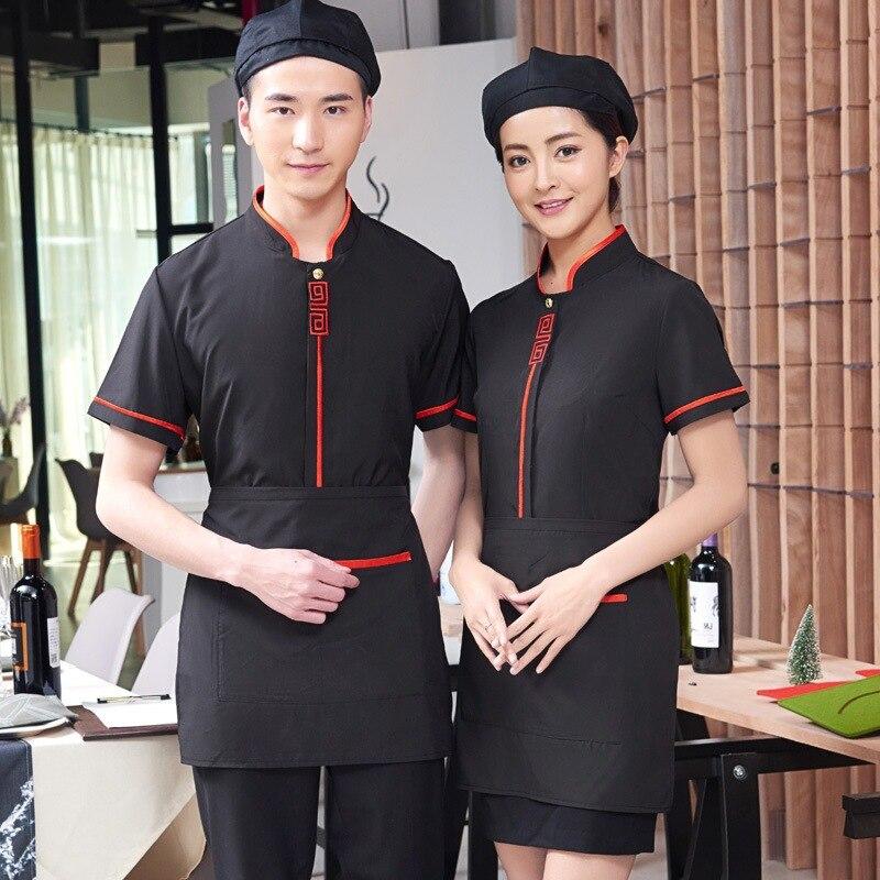 Waiter's Workwear Short-sleeved Summer Women's Chinese Restaurant Uniform Hotel Waitress Catering Fast Food Shop Overalls H2213