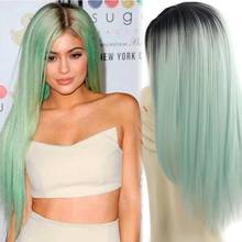Long Ombre Wig Synthetic Cheap Wigs For Black Women 26 240g Long Straight Black Ombre Green