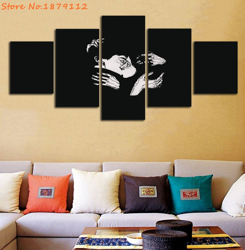 Black White Lover Kiss Abstract Character HD Printing Unframed ...
