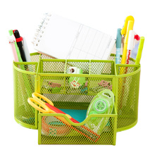 купить Iron 9 Cell Desk Organizer Mesh Desktop Pencil Pen Sundries Badge Holder Storage Box Stationery Ruler School Office Supplies New по цене 702.77 рублей