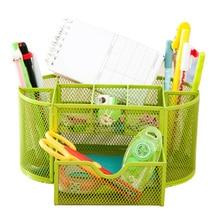 купить Iron 9 Mesh Desktop Pencil Pen Sundries Badge Holder Storage Box Cell Desk Organizer Stationery Ruler School Office Supplies New по цене 737.94 рублей