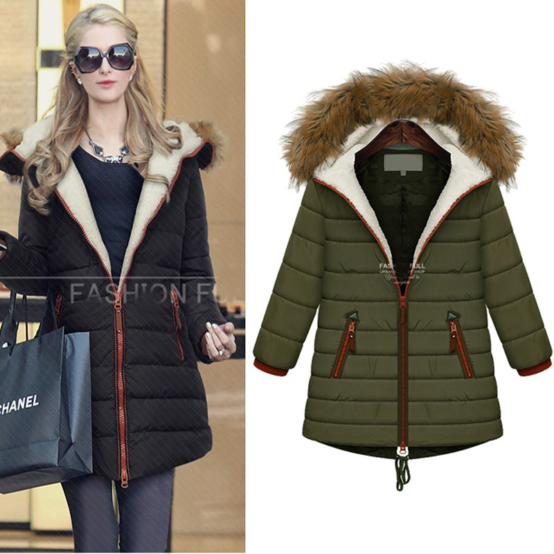 2016 sonbahar ve kış coat Kızlar uzun bölüm Avrupa ve Amerikan kapüşonlu kuzu peluş kalın ceket Pamuk-yastıklı ceket