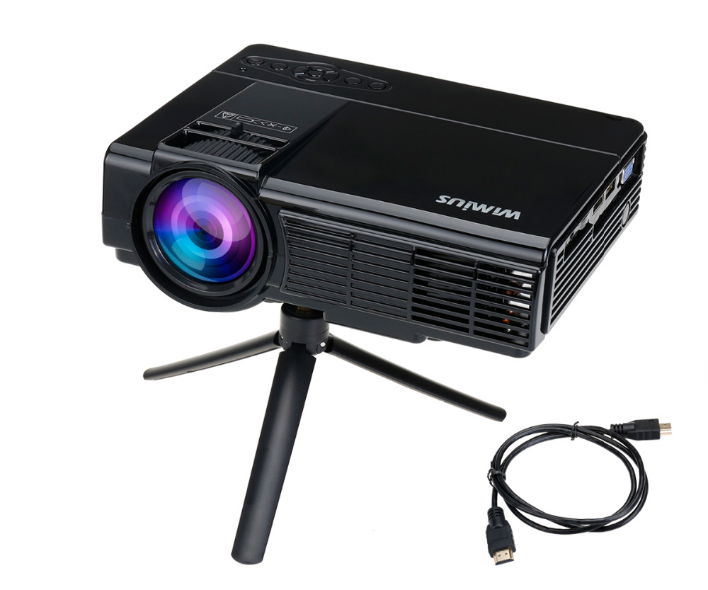 Wimius t3 portable led projector 1200 lumens small home for Portable video projector