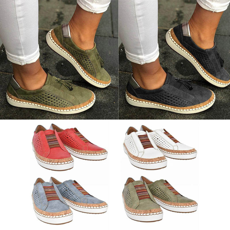 hollow out shoes breathable retro driving round toe lace up