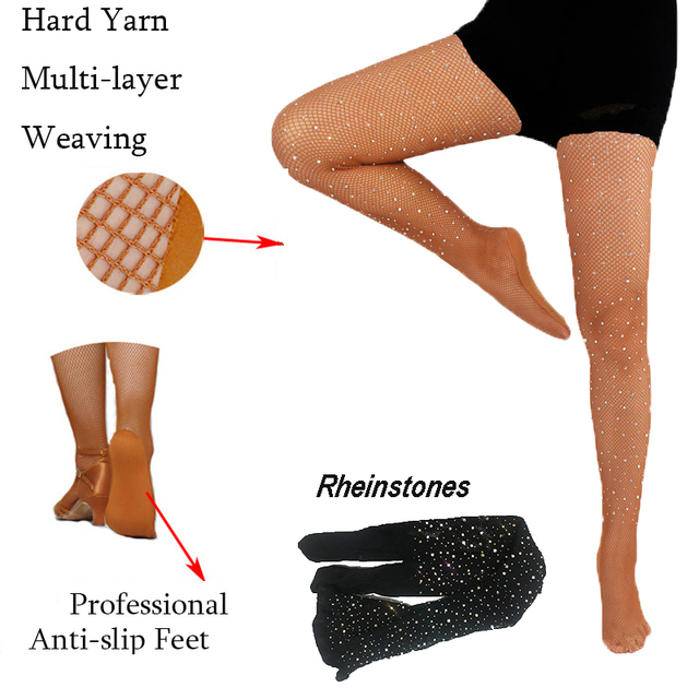 e38133915f801 Rhinestones Latin Tights Women Professional Fishnet Tights Ballroom&Latin  Dance Hard Yarn Elastic Latin Stockings Pantyhose
