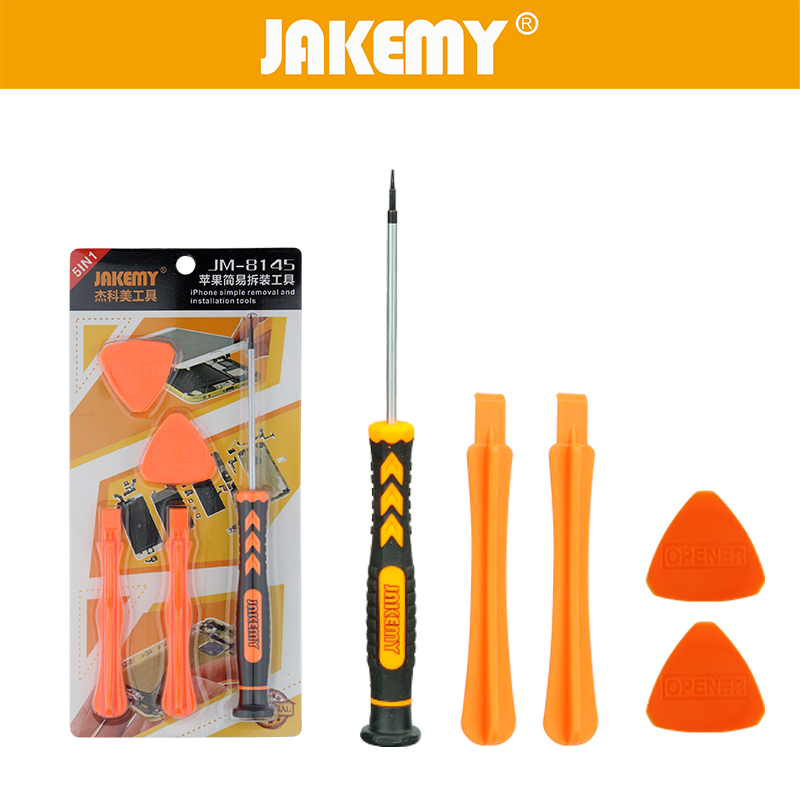 JAKEMY 5 in 1 Disassembly Opening Pry Tool Mobile Phone Repair Tools Pentalobe Screwdriver for Iphone