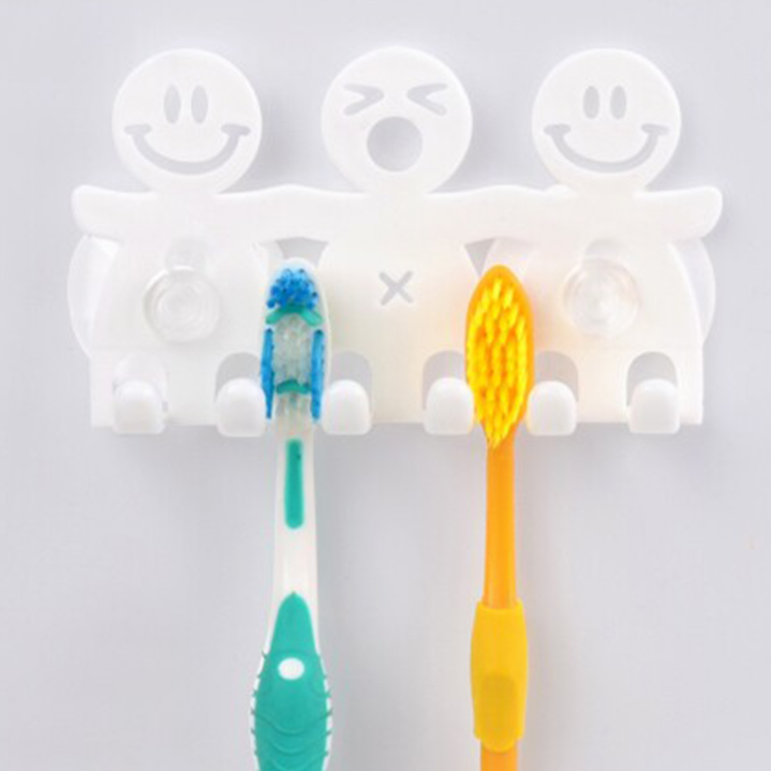 High Quality Suction Hooks 5 Position Tooth Brush Holder Bathroom Sets Cute Cartoon Sucker Toothbrush Holder