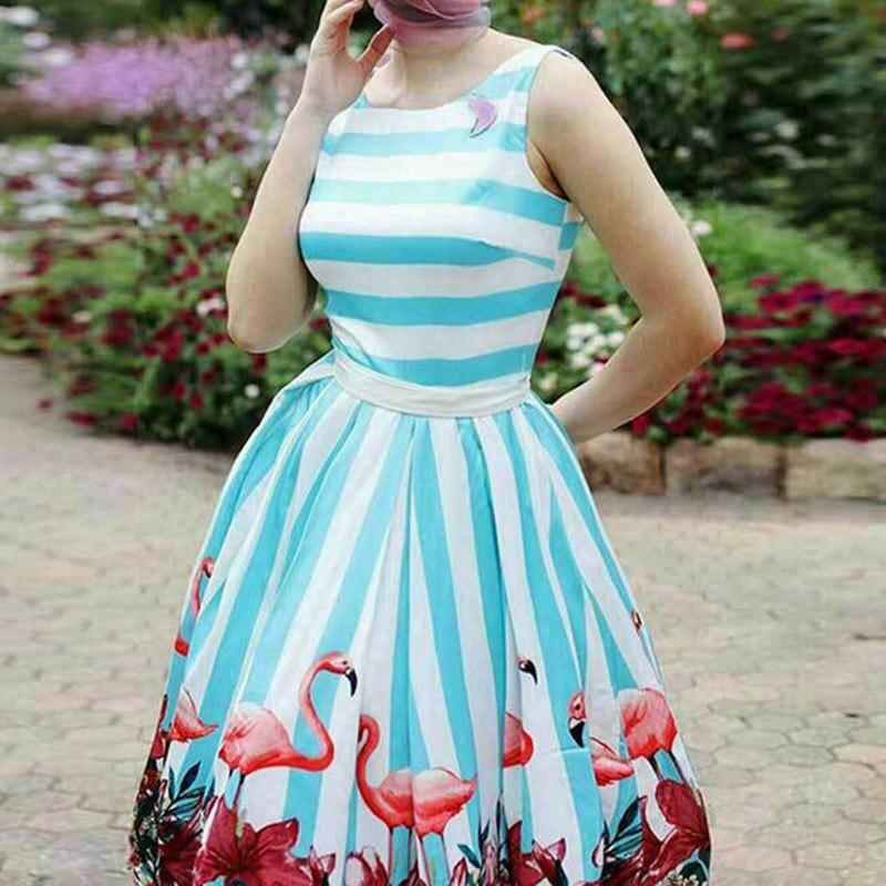 Женские винтажные Pin Up платье цветочным принтом рокабилли лук пояс платья синий белый в полоску Лето Линия старинные платья