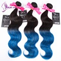 2016 Factory price Body Wave hair Bundles Ombre color 1b/Blue soft virgin Brazilian human hair Bundles 3pcs/lot In stock