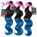 2016 precio de Fábrica Onda Del Cuerpo Haces de pelo Ombre color 1b/Azul suave virgen Brasileña Bundles cabello humano 3 unids/lote en stock