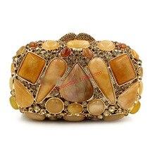 XIYUAN бренд женщины роскошь и мода европейский и американский стиль агат драгоценный камень бриллиант-Шипованная вечерняя сумочка женские кошельки