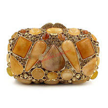 XIYUAN BRAND women 2017 luxury and fashion European and American Style Agate gem diamond-studded evening hand bag female wallets