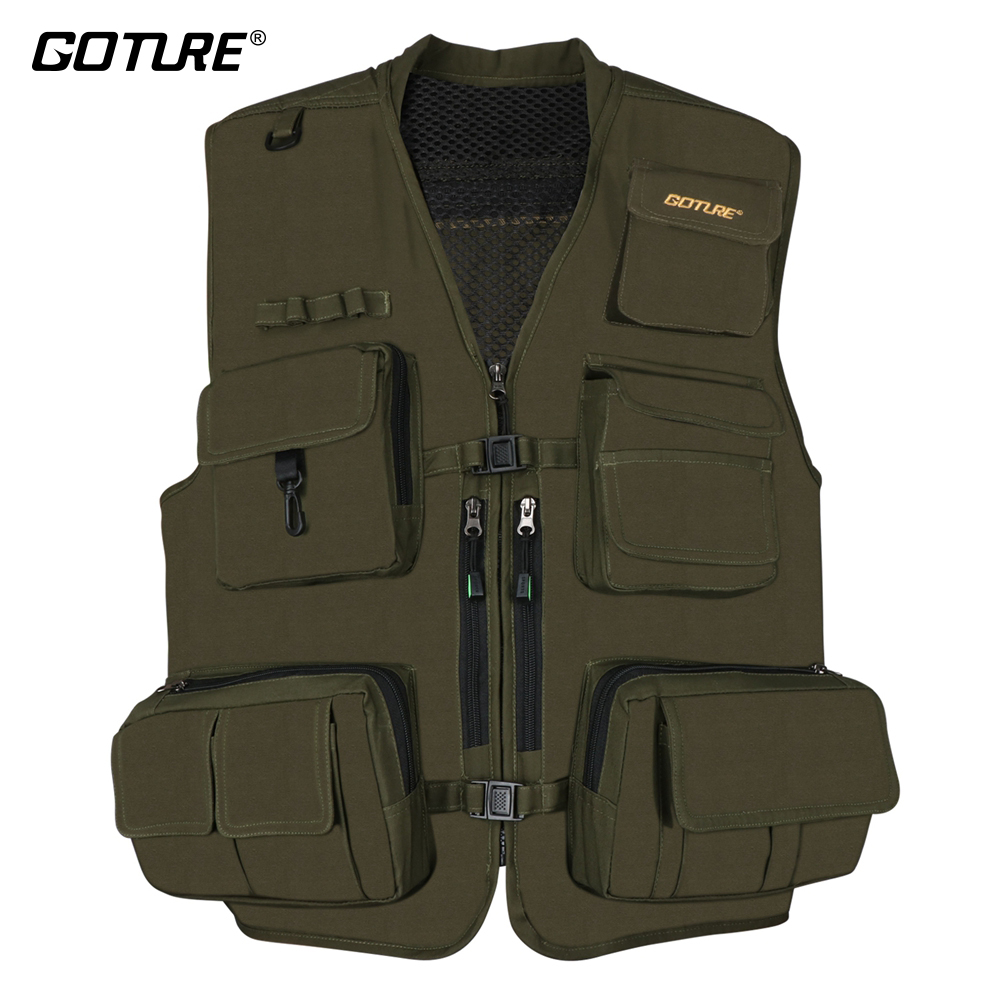 Goture Multifunctional Fishing Vest Jackets Safety Waistcoat With 15 Pockets For Outdoor Sports Size L XL XXL adjustable pro safety equestrian horse riding vest eva padded body protector s m l xl xxl for men kids women camping hiking