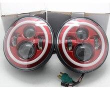 2 X Wrangler 7 Zoll 40 Watt Rote LED Scheinwerfer mit Rot halo-Ring DRL Scheinwerfer Für Jeep Wrangler JK Harley Offroad Fahrzeuge