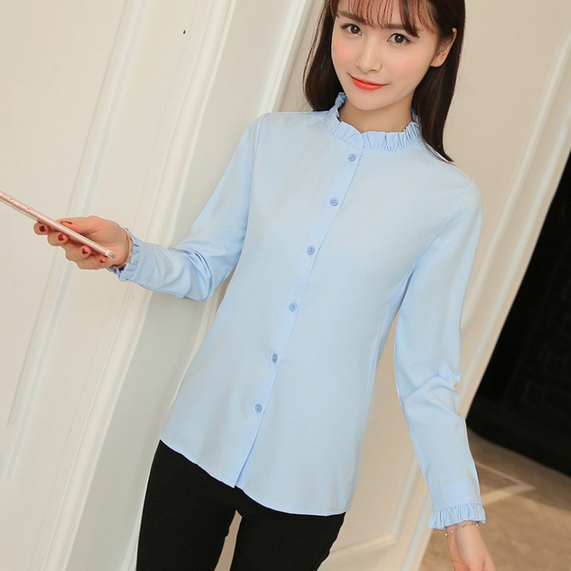 Women sweet style button down stand collar shirt fashion for Stand collar shirt womens