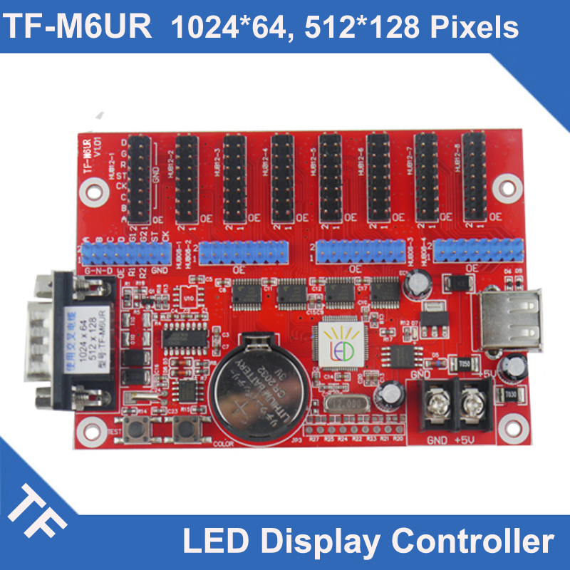 TF-M6UR  M3U Longgreat TF LED Display Control Card Asynchronous Single Dual Color Serial  Port Led Controller Rs232 Led Display