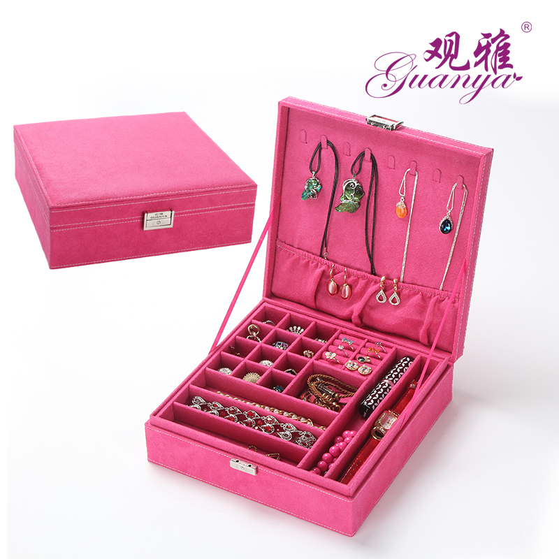 89564e27ae273 O festivo caixa de jóias ou saco de presente da jóia com um metal bloqueio  e tem uma chave para proteger o seu anel brincos pulseiras colares