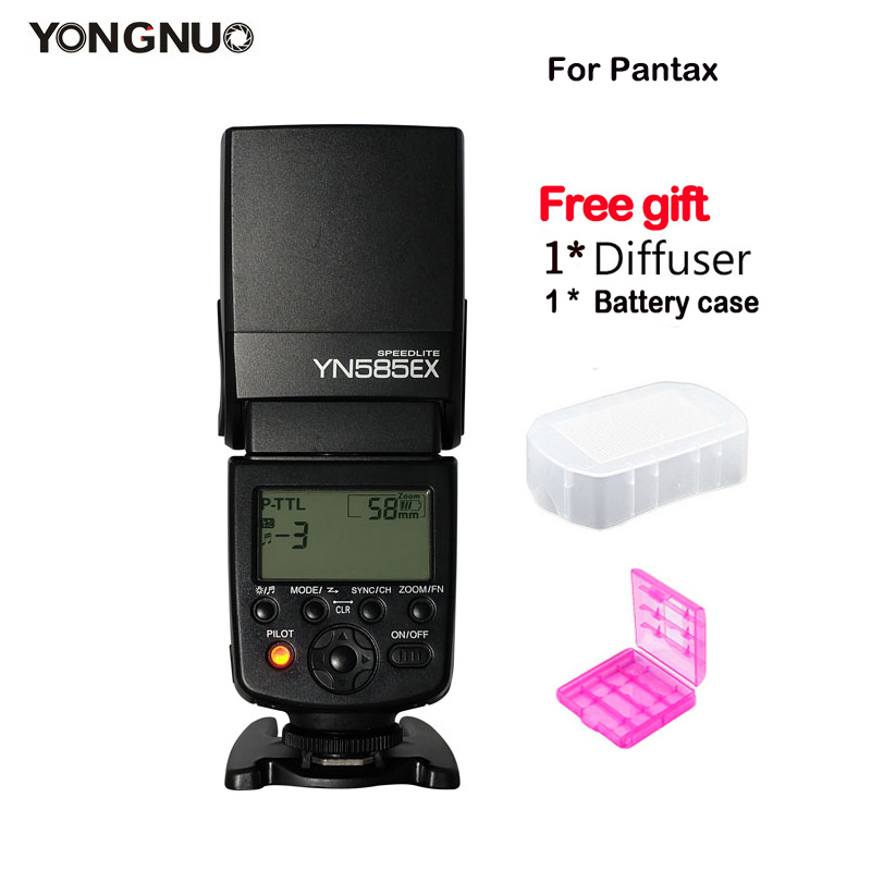 цена на New YONGNUO YN585EX P-TTL Flash Speedlite Wireless Sync TTL for Pentax K-70 K-50 K-1 K-S1 K-S2 645Z K-3 K-5 II K-30 DSLR Camera