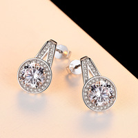 MANWII 925 Stealing Silver Stud Earrings Rhinestone Setting Fashion Earrings for Women Top Quality Party Jewelry AB2126
