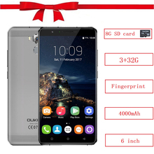 Oukitel U16 Max celular MTK6753 RAM 3GB ROM 32GB Octa Core 4000mAh Android 7.0 Fingerprint ID 13MP 720P HD 6 inch smartphone