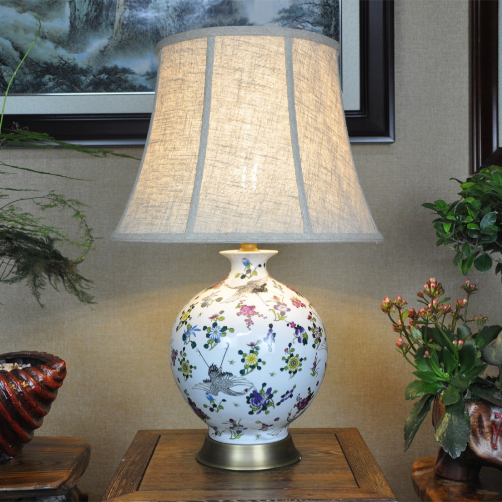 Vintage chinese bedroom living room wedding table lamp - Porcelain table lamps for living room ...