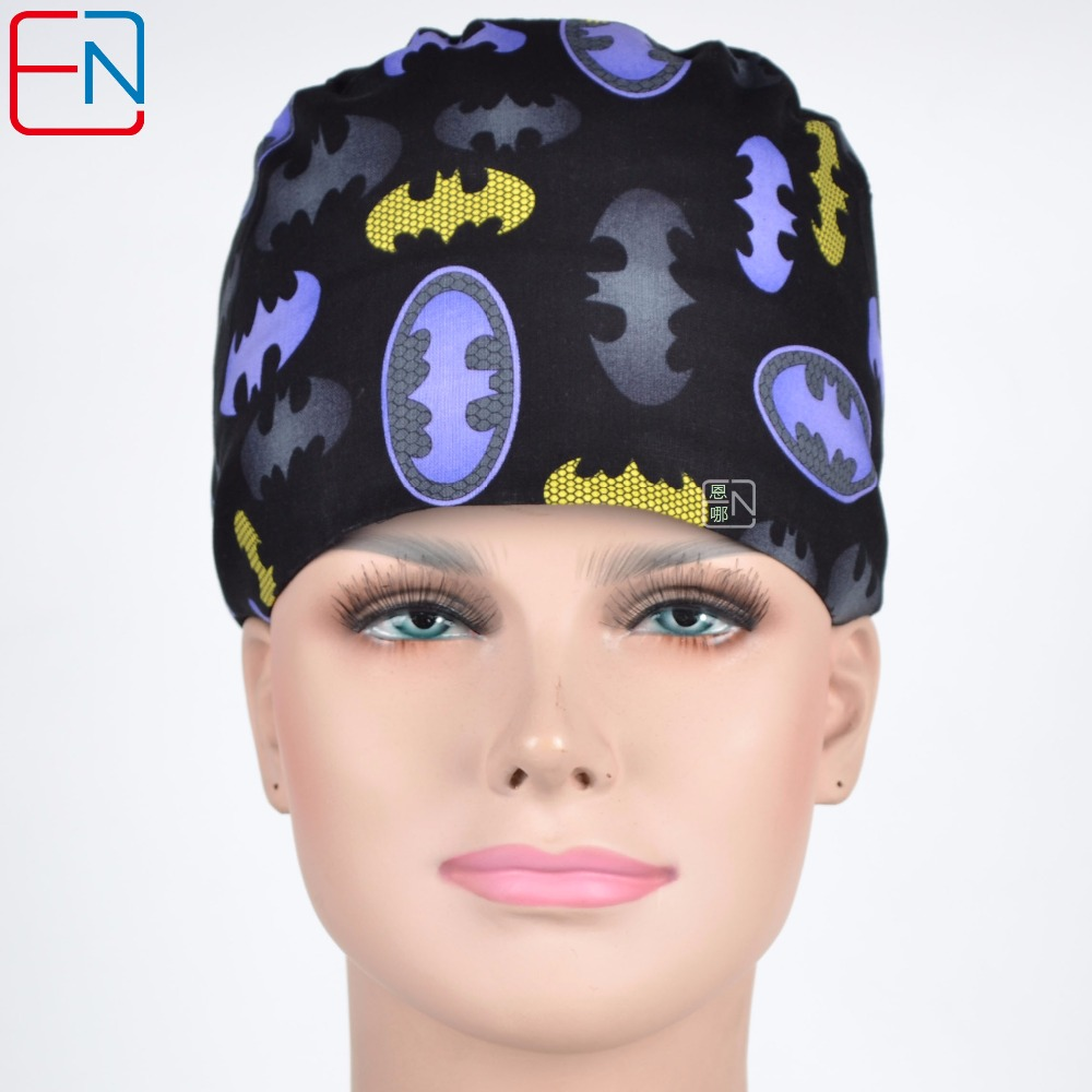 Hennar Medical Scrubs Caps Masks Doctors Nurses Black Printed Surgery Hats Comfortable Soft 100%Cotton Surgical Scrub Caps Masks