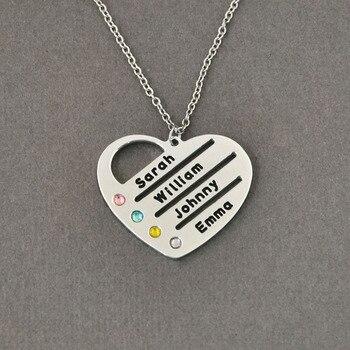 bc19af64eb77 Personalizada piedras collar de corazón colgante de nombre y piedras de  joyería de nombre collar