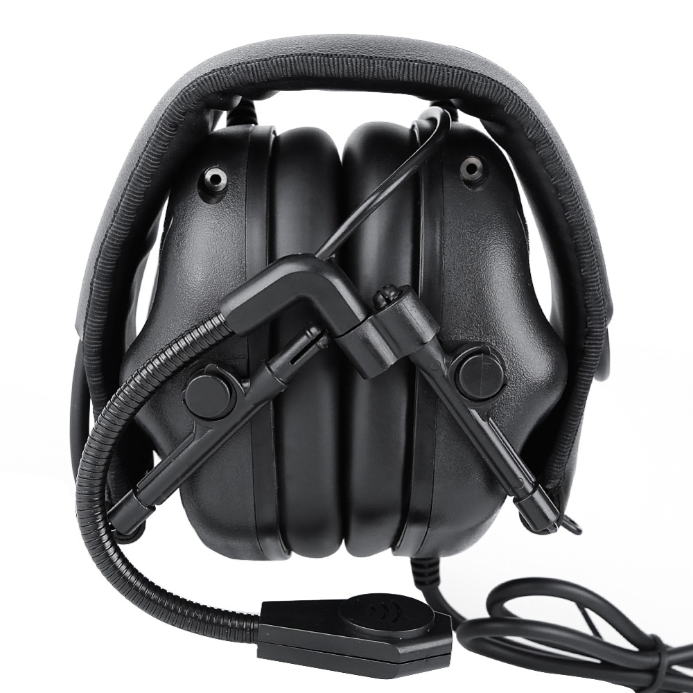Wired Headphone Adjustable Battery Operated Headset Hunting Shooting Accessories with Detachable Microphone