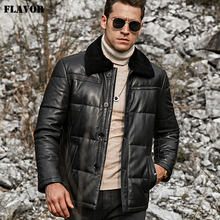 FLAVOR Men's Lambskin Leather Down Jacket Men Down Winter Warm White Duck Down Coat with Removable Sheep Fur Collar(China)