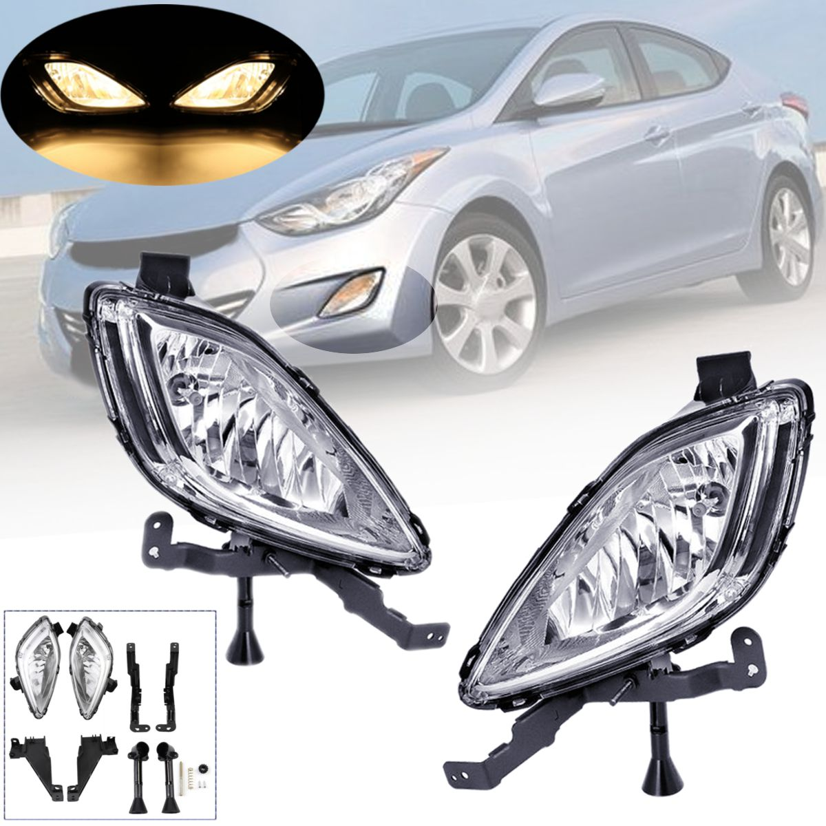 1 Pair 12V 3000K Amber Left Right Clear Front Bumper Fog Lights Lamps Daytime Running Lights For Hyundai Elantra 2011 2012 2013
