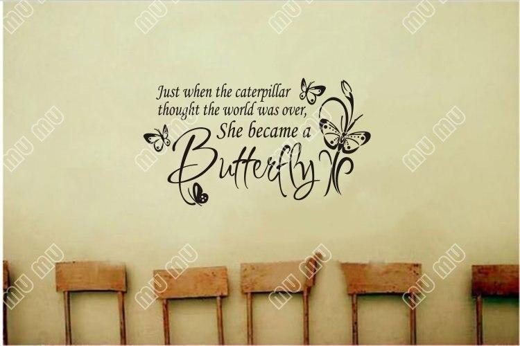 Large Butterfly Caterpillarwall Decal Little Girls Room Nursery
