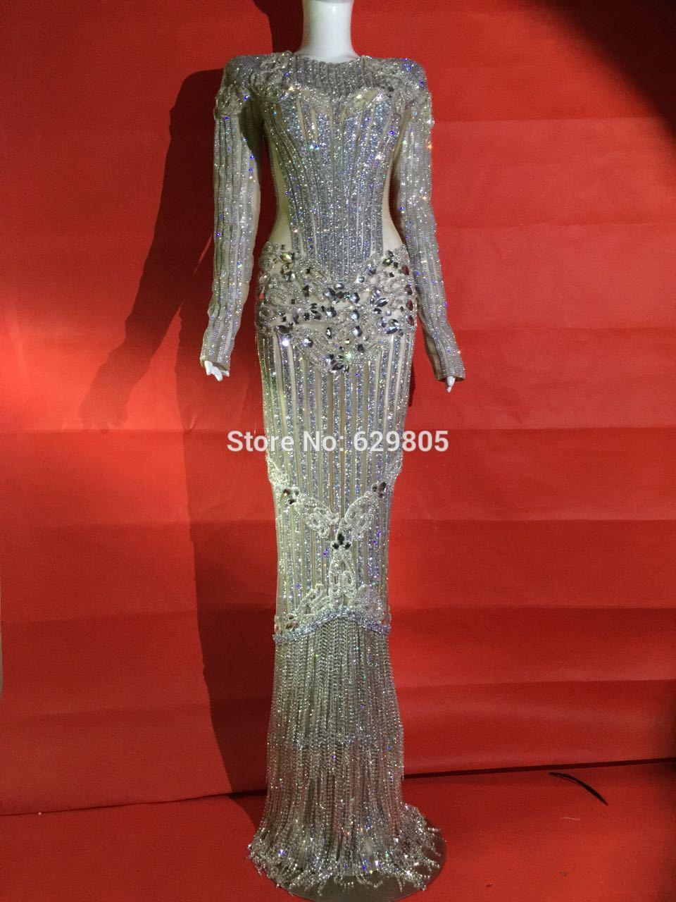 2019 mode luxe Glisten argent strass Sexy scène porter de longues robes plein cristaux Costume célébrer tenue robes