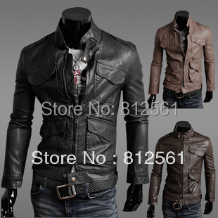 New arrived 2014 New Slim men's leather jackets, men leather motorcycle thick warm jacket Black,Brown,yellow Size:M-L-XL-XXL