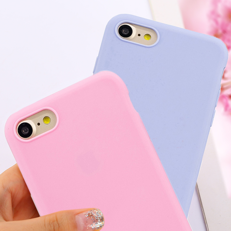 Ultra-thin Candy Color Case for iPhone 6 6S Plus Silicone TPU Soft Back Cover for iPhone 7 8 Plus X 5 5S SE Phone Cases Capa