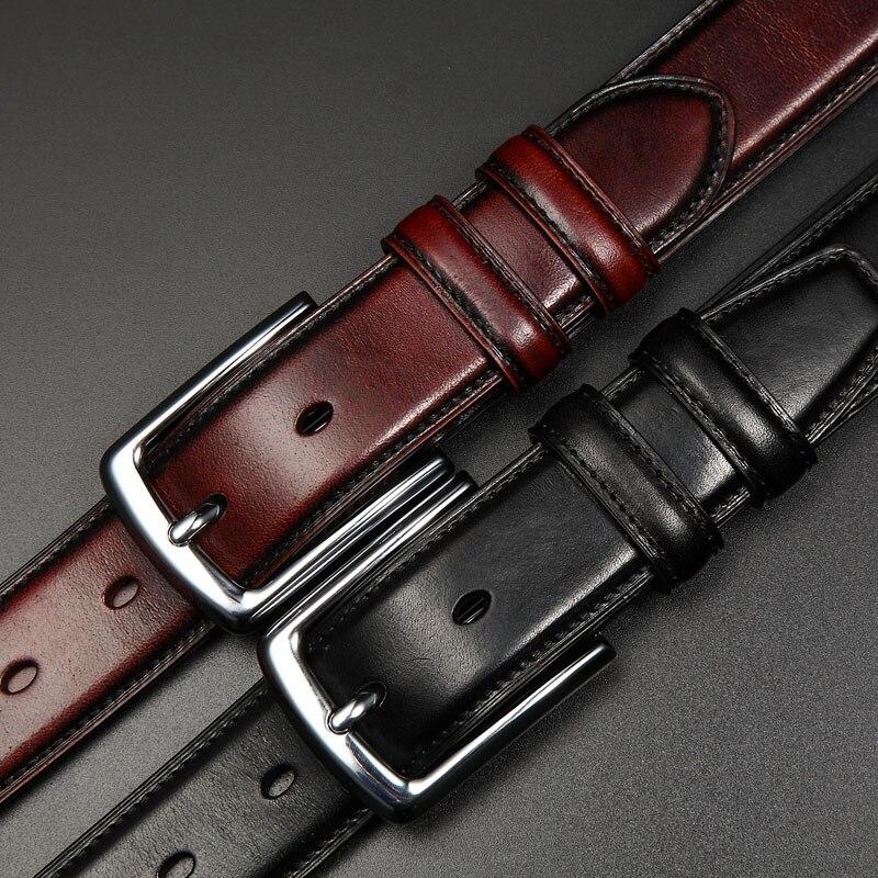 100% cuir de vachette ceintures en cuir véritable pour hommes Vintage 2018 nouveau Design mâle sangle Ceinture Homme hommes Ceinture