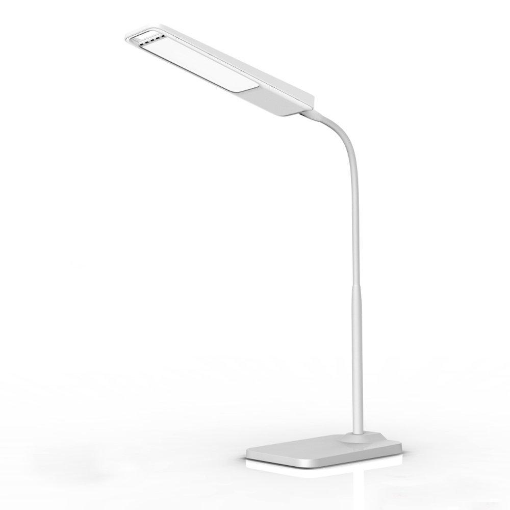 ФОТО New ledertek Gooseneck 6W LED Desk Lamp / 3-Level Dimmer, Touch-Sensitive Controller, Portable Lightweight Table Reading(White)