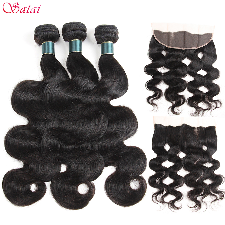 Satai Body Wave Human Hair 3 Bundles With Frontal Natural Color Peruvian Hair Bundles With Closure Non Remy Hair Extension