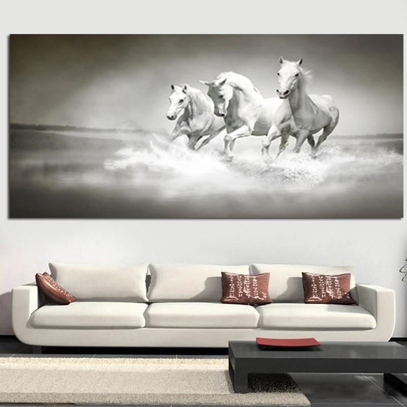 Nowoczesne białe konie biegną w obrazie olejnym rzeki HD Drukuj na - Wystrój domu - Zdjęcie 2