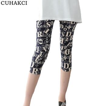 CUHAKCI Summer Print Leggings Women Pencil Pants Casual Elastic Waist Soft Letter Stripe Short Legging Plaid Female Leggins
