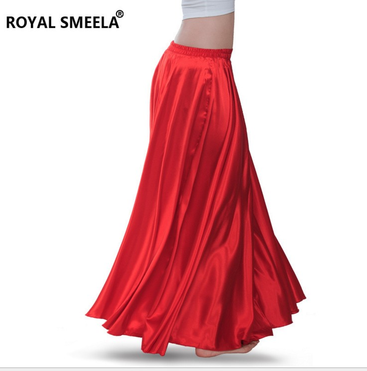 360 Degree Satin Long Skirt Lady Belly Dance Skirt 14 Colors Available Chiffon Belly Dance Costumes Belly Dancing Suit B-6830