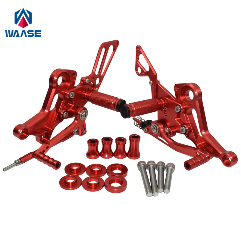 waase For Ducati Monster 696 795 796 1100 EVO Adjustable Rider Rearsets Rearset Footrest Foot Rest Pegs (Red)waase For Ducati Monster 696 795 796 1100 EVO Adjustable Rider Rearsets Rearset Footrest Foot Rest Pegs (Red)