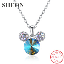 SHEON Animal Collection 925 Sterling Silver Cute Mouse Mickey Necklaces & Pendants for Women Jewelry