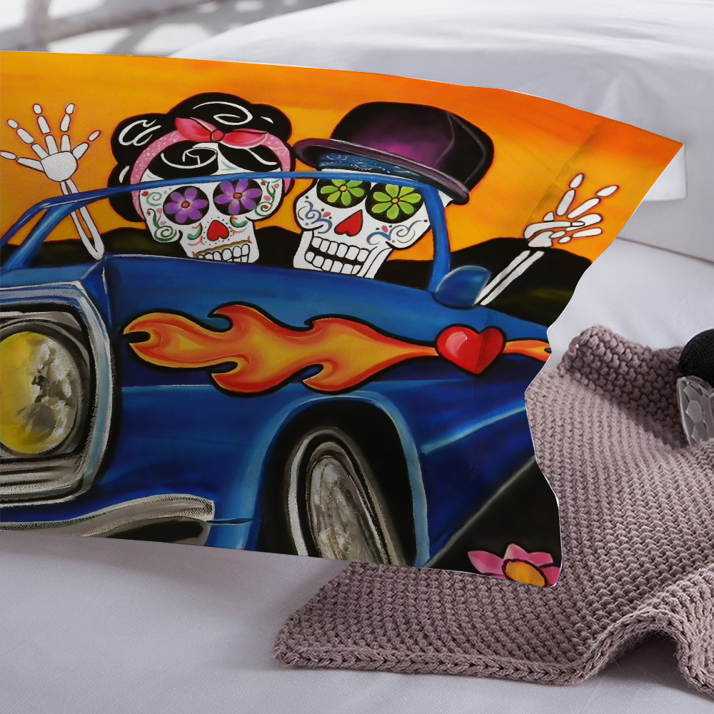 Skull lover car Bedding Set 3d Duvet Cover Bedclothes Twin queen king size 3pcs Home Textiles in Bedding Sets from Home Garden